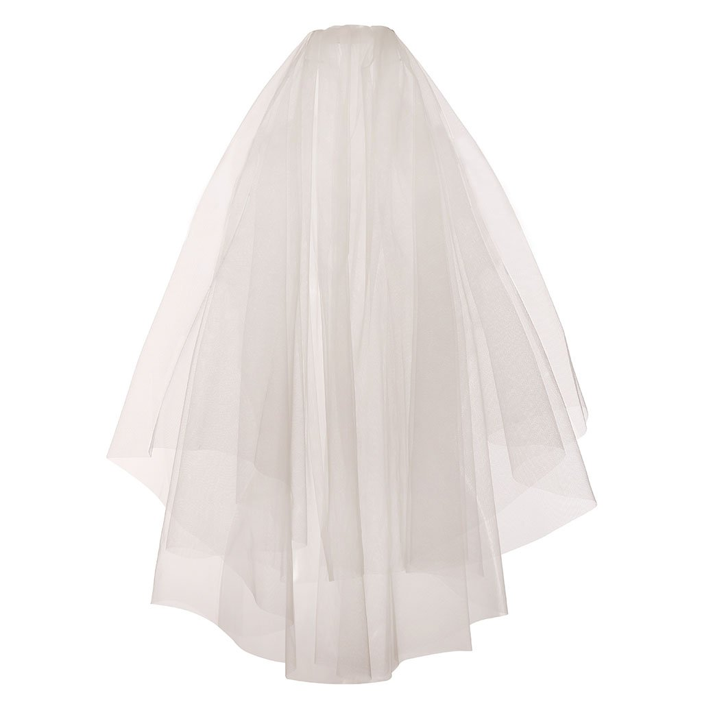 GRACIN Women's 2 Tier Elegant Off-White Bridal Tulle Wedding Veil with Comb (Metal comb, Off-White)