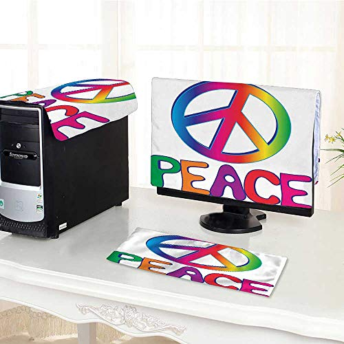- Auraisehome Computer Keyboard Dust Cover 3 Pieces Collection Peace Text with Peace Sign Type Line Love Political Hippie Groovy Artistic dust Cover Computer case /23
