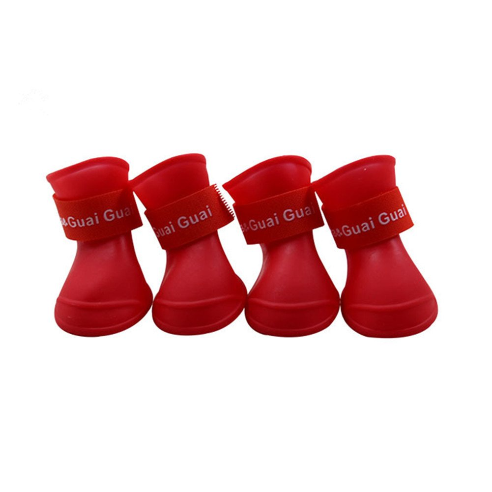 Dog Rain Shoes Boot Waterproof Anti-Slip Shoes waterproof for Small Animal Candy Colors Different Colors, 4pcs