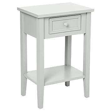 meuble de chevet table de nuit 1 tiroir esprit romantique coloris gris taupe