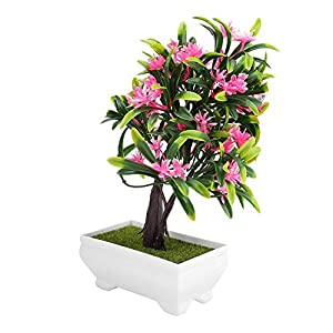 GLOGLOW Artificial Bonsai Flower Pot Fake Silk Flower Tree Plant for Wedding Holiday Home Decor 11
