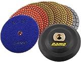 DAMO Diamond Polishing Pads 4 inch Wet Set of 7 + Black Buff + Back Holder for Granite Countertop Floor