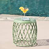 Alameda Outdoor 15 Inch Lattice Iron Side Table (Matte Green) For Sale