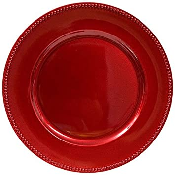 red christmas holiday plastic charger plates with beaded rims 13 in set of 8 - Christmas Charger Plates