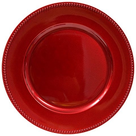 Red Christmas Holiday Plastic Charger Plates with Beaded Rims, 13 in. Set of 8 Barn To Ballroom