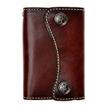 ZLYC Classic Genuine Leather Two Buttons Key Wallet Card Holder Case Keychain, Dark Brown