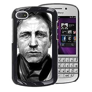For BlackBerry Q10 Case , Daniel Craig B&W - Diseño Patrón Teléfono Caso Cubierta Case Bumper Duro Protección Case Cover Funda
