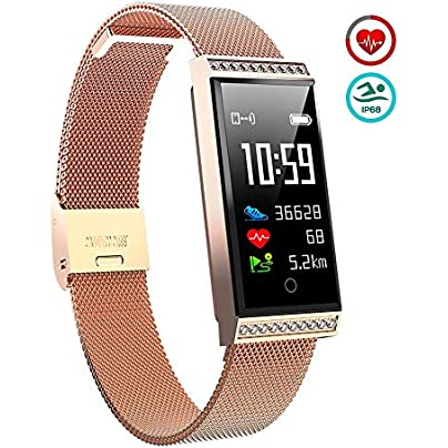 OOLIFENG Smart Watch Fitness Tracker Waterproof Activity Wristband with Heart Rate Monitor Pedometer Compatible with iOS Android Estimated Price £61.64 -