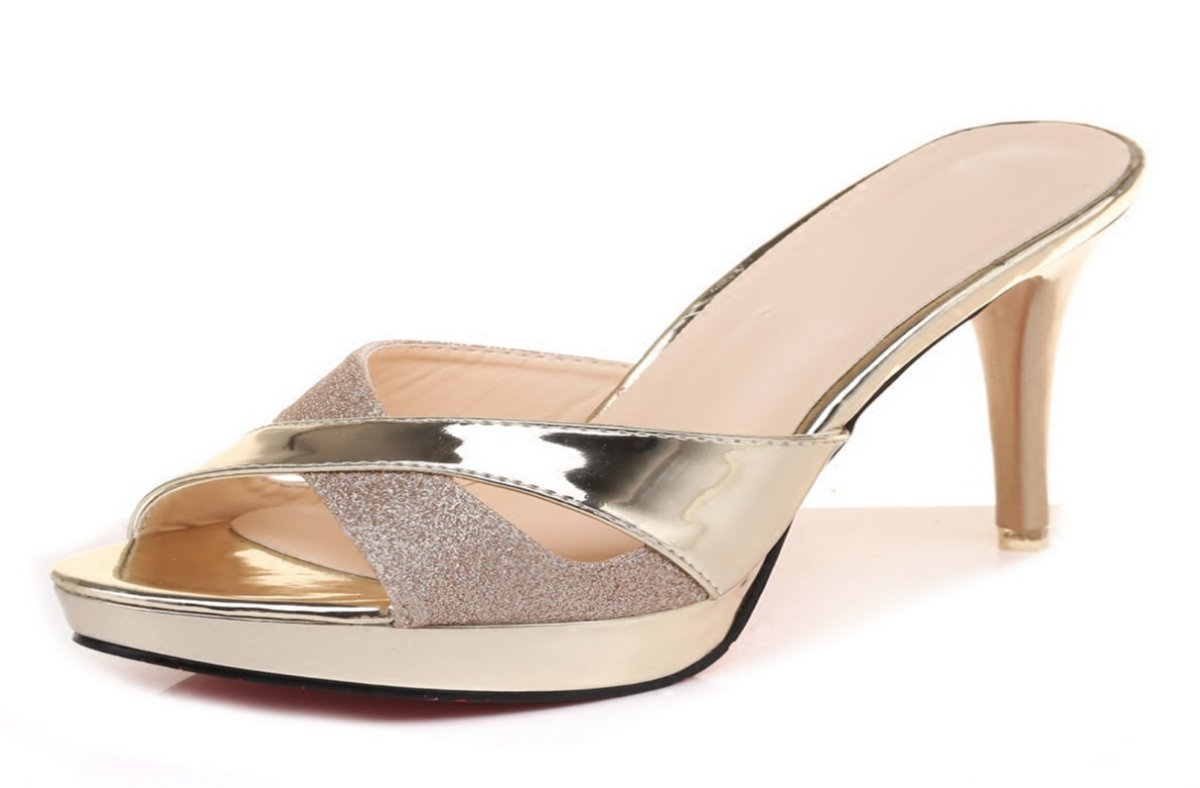 GTVERNH Damenschuhe Sommer 11Cm Tragen High Heels Mode Cool Drachen Pailletten Goldene Dünn und Hausschuhe.
