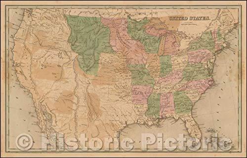 Historic Map | United States, 1841, Thomas Gamaliel Bradford | Vintage Wall Art 69in x ()