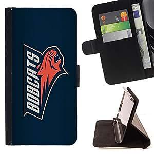 - cool team cat red blue - - Prima caja de la PU billetera de cuero con ranuras para tarjetas, efectivo desmontable correa para l Funny HouseFOR Sony Xperia Z1 L39