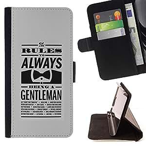 BullDog Case - FOR/Apple Iphone 6 PLUS 5.5 / - / ALWAYS A GENTLEMAN /- Monedero de cuero de la PU Llevar cubierta de la caja con el ID Credit Card Slots Flip funda de cuer