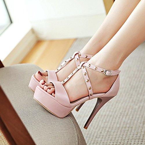 Shoes Sandalias High JUWOJIA Stiletto Nuevo Correa Heeled Rosa Abierto Party 7 Colores Zapato Verano Talón Mujer T 5 3 Remaches z7Cwz6qS
