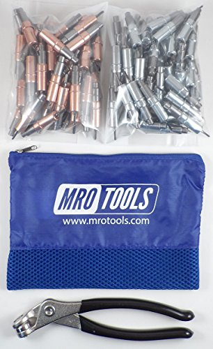 50 1/8 & 50 3/32 Heavy Duty Cleco Fasteners + Cleco Pliers w/ Mesh Bag (KHD4S100-3) by MRO Tools Cleco Fasteners