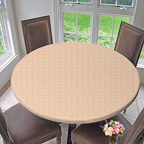 - Mikihome Modern Simple Round Tablecloth Diagonal Checked with Crossed Oval Shapes and Dotted Lines Tile Salmon White Decoration Washable 55