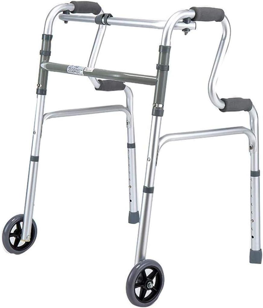 SHHYD Plegable Rollator Caminante para Personas Mayores, Andador con 2 Ruedas, 8 Archivos Ajustables Altura Y Piernas Desmontables, Walker De Viaje para Ancianos Discapacitados