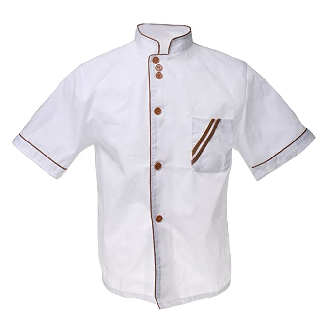 MagiDeal Mandarino Collo Alla Coreana Top A Manica Corta Giacca Cuoco Chef  Cappotto Uniforme Per Gli Uomini  Amazon.it  Abbigliamento 7bc9888f68f7