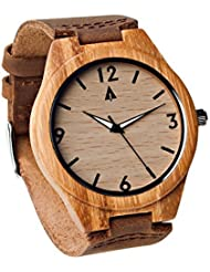 Treehut Mens Bamboo Wooden Watch with Genuine Brown Leather Strap Quartz Analog with Quality Miyota Movement,...