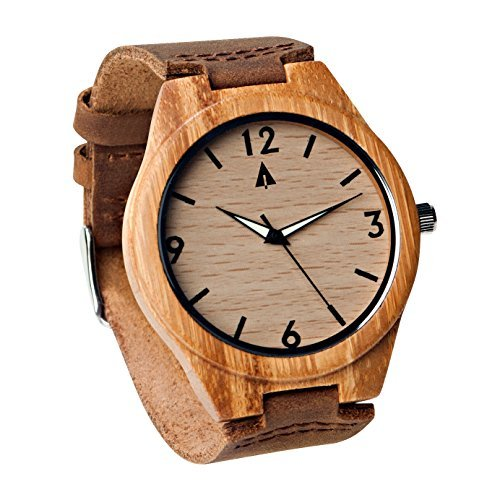 Treehut Men's Bamboo Wooden Watch with Genuine Brown Leather Strap Quartz Analog with Quality Miyota Movement, Glow in The Dark Hands, 1.7 inches (Brown Leather Quality)
