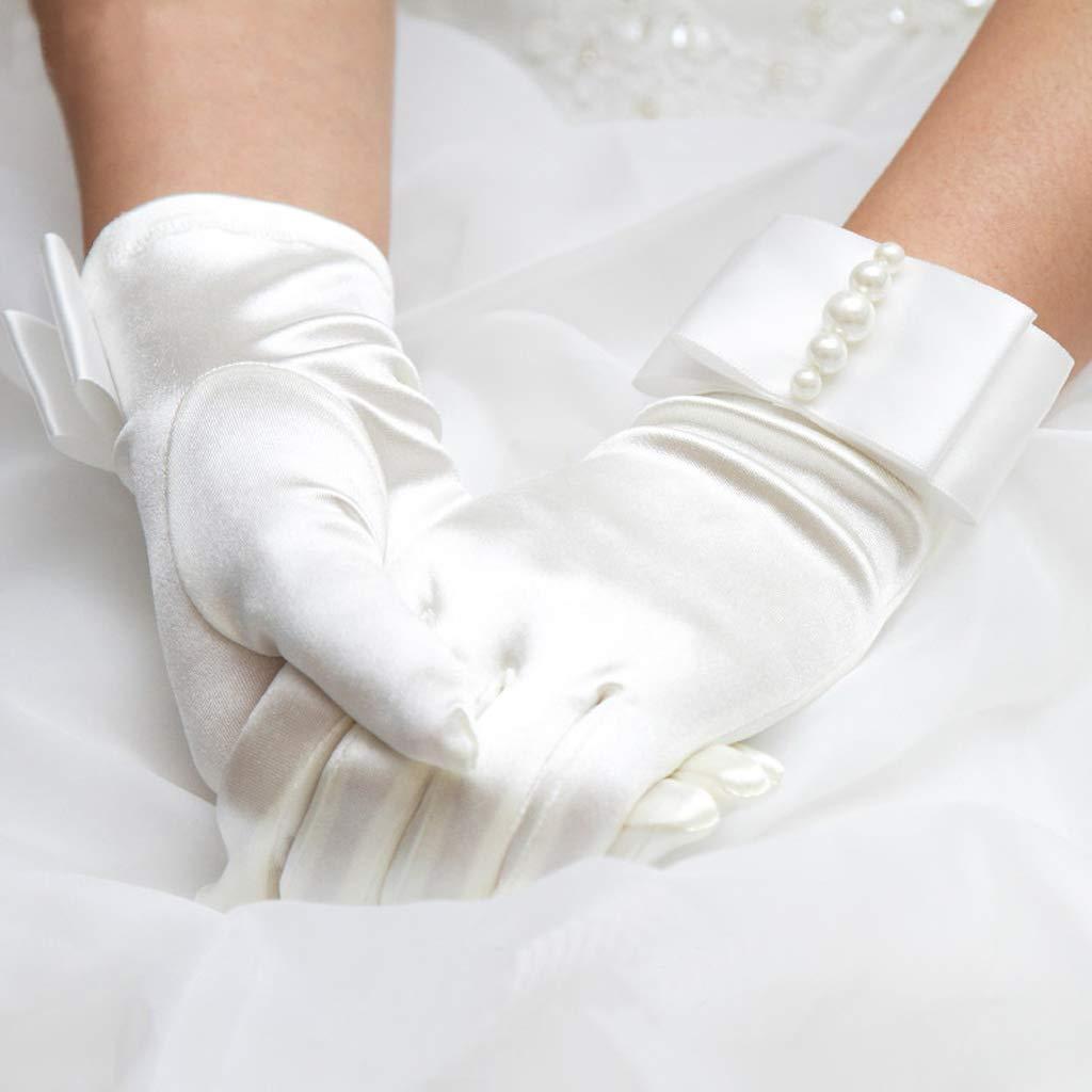 SimpleLife Guanti da Donna con Dita Corte Piene Sposa in Raso da Sposa con Fiocco