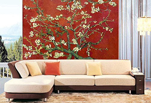 Red Almond Blossom by Vincent Van Gogh Wall Mural