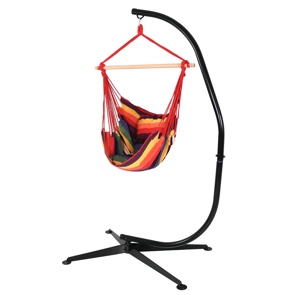Sunnydaze Hanging Hammock Chair Swing and C-Stand Set, Sunset, for Indoor or Outdoor Use, Max Weight: 265 pounds, Includes 2 Seat Cushions