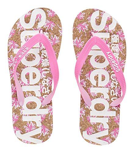 Cork Mehrfarbig Zehentrenner Flop Cork Pink Palm Printed Superdry Flip Fluro Printwxg Damen qg6AOU