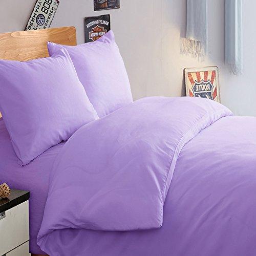 NTBAY 3 Pieces Duvet Cover Set Solid Color Microfiber with Hidden Zip(Twin, Light purple)