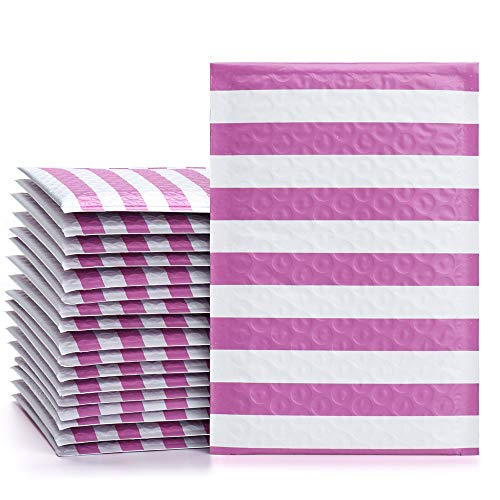 Package Stripe - Fu Global #000 4x8 Inches Poly Bubble Mailers Stripe Padded Envelopes Pink Pack of 50