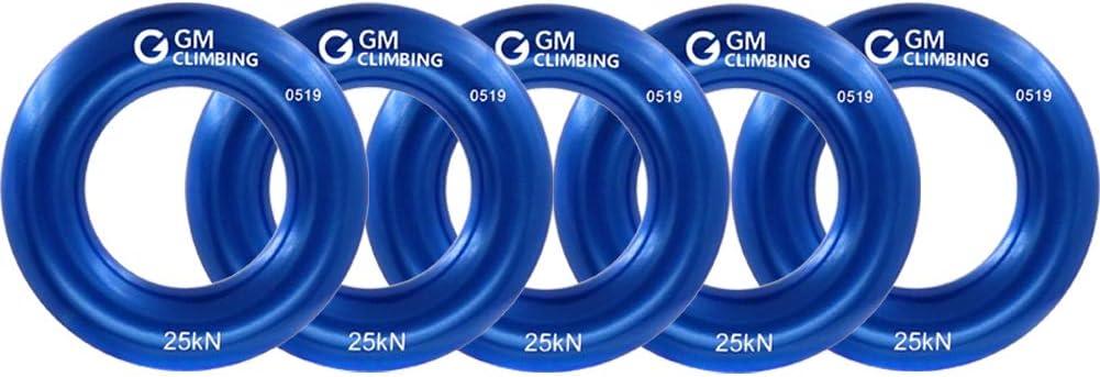 GM CLIMBING Peque?o Anillo de Rappel Escalada de Aluminio para Escalada en Roca arborista Rescate Slackline Hamaca Azul Paquete de 5