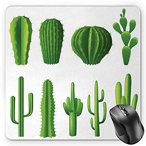 Pad, Print Cartoon Style Image Hot Mexican Desert Plant Cactus Types with Spikes Image Art, Standard Size Rectangle Non-Slip Rubber Mousepad, Green ()