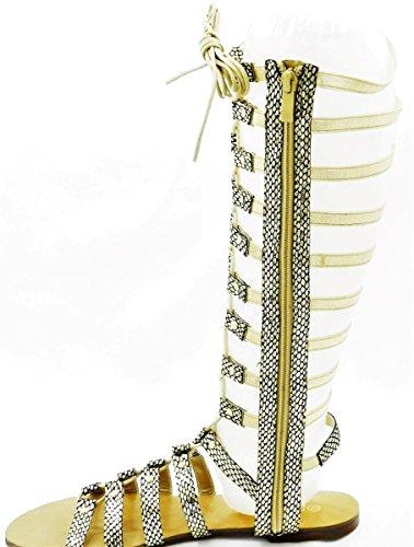 Kvinnor Alltid Flerfärgade Dubbade Strappy Gladiator Knähöga Sandal Skor Guld
