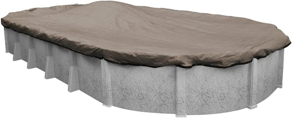 Amazon Com Robelle 431833 4 Premium Mesh Xl Taupe Mesh Winter Pool Cover For Oval Above Ground Swimming Pools 18 X 33 Ft Oval Pool Garden Outdoor