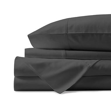 Mayfair Linen 100% Egyptian Cotton Sheets, Dark Grey Queen Sheets Set, 800 Thread Count Long Staple Cotton, Sateen Weave for Soft and Silky Feel, Fits Mattress Upto 18'' DEEP Pocket