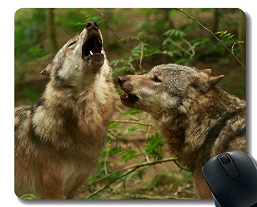 Gaming Mouse Pad Custom,Howling Animal Blur Wolf Home Office Computer Accessories -