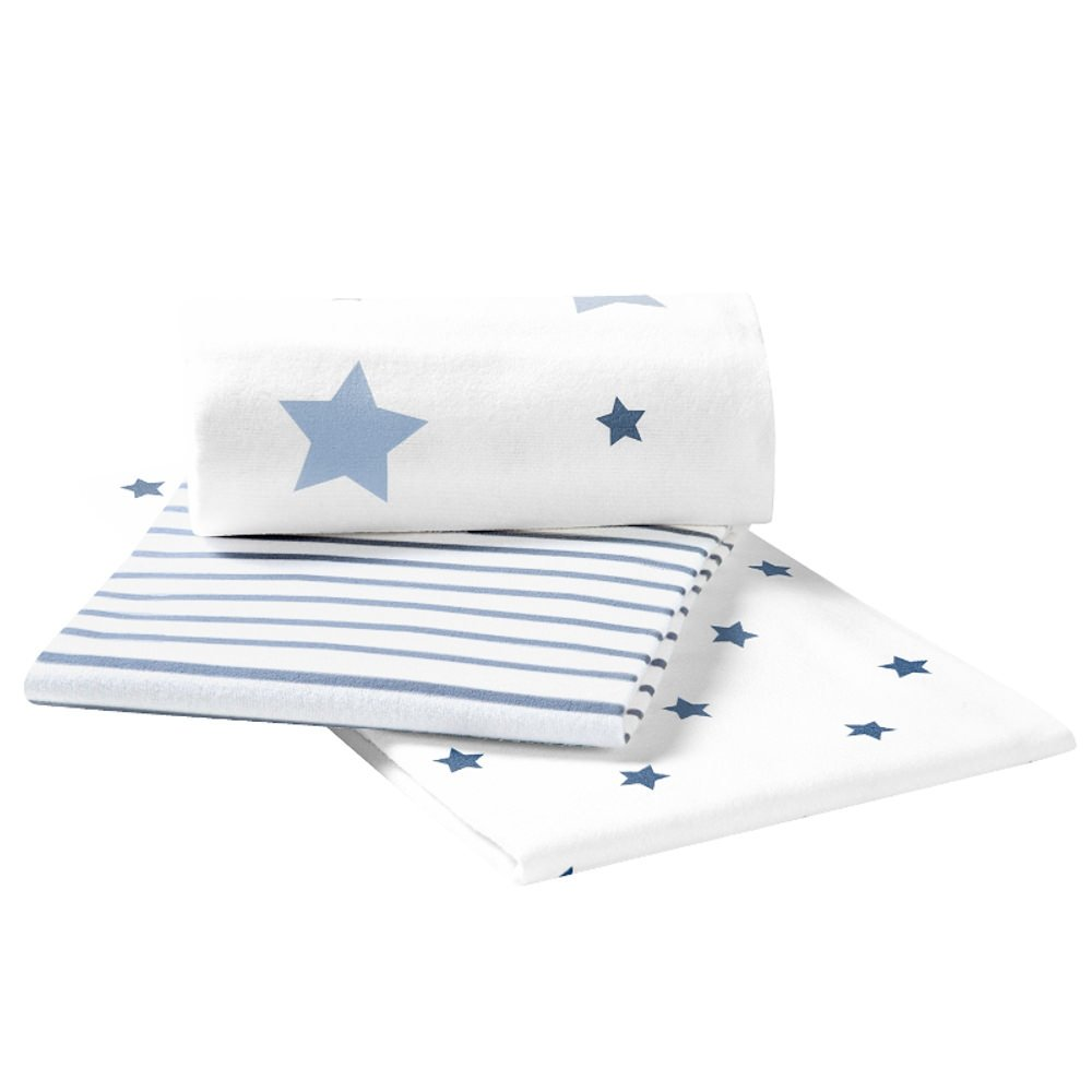 Odenwä lder Moltontü cher stars and stripes 3er-Pack, Farbe:ice blue Odenwälder