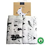 Bamboo Muslin Swaddle Blankets (2-Pack) ++ 60% OFF SALE ++ X Large, BREATHABLE, Super SOFT, Hypoallergenic Receiving Blankets - Perfect UNISEX Baby Shower Gift (Teepee & Cactuses)