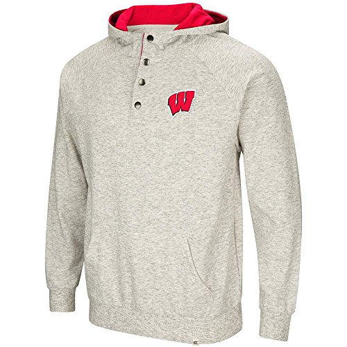 (Colosseum Mens Wisconsin Badgers Henley Fleece Hoodie - 2XL)