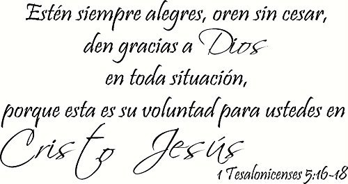 1 Tesalonicenses 5:16-18 Pared Arte, Estén Siempre Alegres,