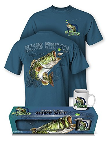 Follow the Action Largemouth Bass Hawg Hunter Fishing T-Shirt and Mug Gift Set (X-Large)