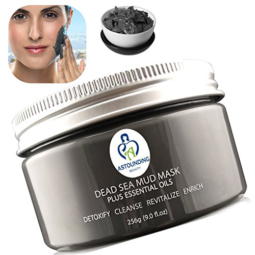 THIS IS THE ONE! Dead Sea Mud Mask + Essential Oils-9 oz-100% Natural Facial Body Skin Spa Treatment|Detox Cleanse Exfoliate Face|Reduce Minimizer Acne Pores Wrinkles Scars|Blackhead Remover Extractor