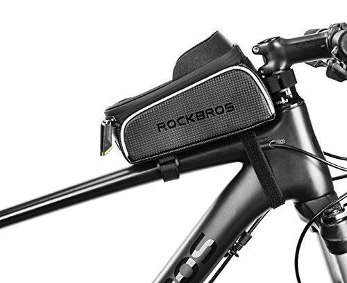 ROCKBROS Water Resistant Bike Top Tube Frame Bag Colorful Reflective Bag Black