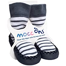Mocc Ons Cute Moccasin Style Slipper Socks (12-18 Months, Nautical Stripe)