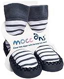 Mocc Ons Cute Moccasin Style Slipper Socks - Nautical Stripe, 18-24 Months Bild