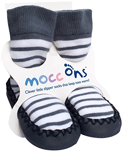 Mocc Ons Cute Moccasin Style Slipper Socks Nautical Stripe 18 24 Months