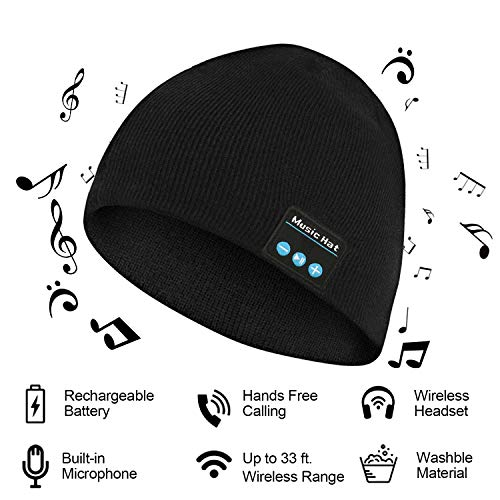 Bluetooth Beanie, Bluetooth Hat, Unisex Music Hat with Rechargeable Battery Built-in Stereo Speakers, Suitable for Men & Women (Black)