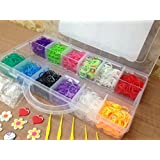 Large Box Colourful 2400 Loom Bands Bracelet Making Kit Set w/ 100 S-Clips - 1 Loom Board - 10 Loom Charms & 5 Hooks Best on Amazon by FunkyBuys