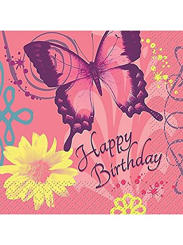 Butterfly Birthday Beverage Napkins (Butterfly Beverage Napkins)