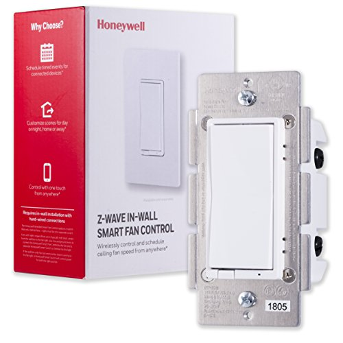Honeywell Z-Wave Plus Smart Fan Speed Control, 3-Speed In-Wall Paddle Switch, White and Almond |Built-In Repeater Range Extender | ZWave Hub Required - SmartThings, Wink, Alexa Compatible, 39358