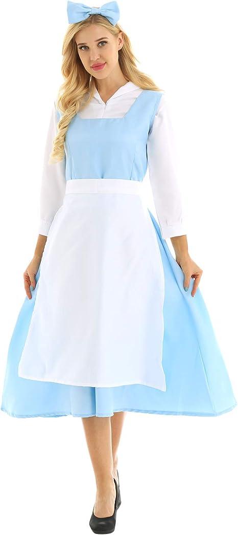 ranrann Disfraz de Bella y Bestia para Mujer Cosplay Criada 4Pcs ...